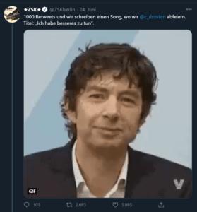 ZSK Tweet mit Ankündigung für Drostsen-Song
